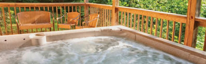 Hot tub bubbling with safety steps